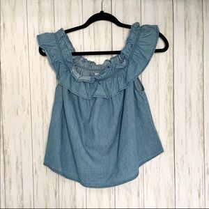 Chambray Off The Shoulder Ruffle Top